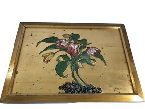 Vintage Painting Gold Flowers Yellow & Pink Art Wood Frame