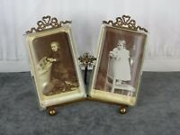 Antique French Bronze & Beveled Glass Double Picture Frame Louis XVI - Flowers