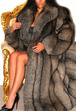 SPLENDID FULL LENGTH CRYSTAL SILVER PLATINUM SAGA FOX REAL FUR COAT JACKET + HAT