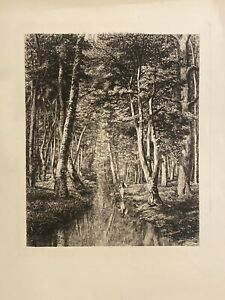 Man Fishing Forest Stream Antique 1870s Etching Adolphe Martial Potemont 14X19