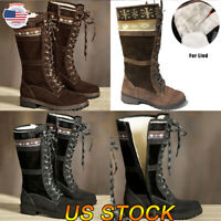 Women Snow Boots Lace Up Fur Lined Winter Warm Zip Ladies Casual Mid Calf Shoes