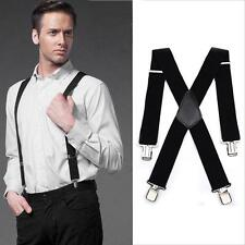 Heavy Duty MEN BRACES BLACK SUSPENDER ELASTIC Durable Trouser N7