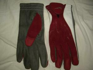 NIKE NCAA Spec Athletic Gloves Red White & Gray Goatskin Leather Size XL MINT!