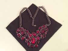 ROBERT ROSE GORGEOUS GARNET RED CHUNKY NECKLACE  PEWTER PLATE