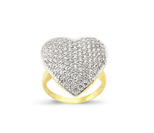 9CT GOLD SOLID LADIES CUBIC ZIRCONIA CZ PAVE HEARTS SIGNET RING BAND GIFT BOX