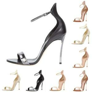 Ladies Sexy Open Toe Ankle Strap Buckle Stilettos High Heels Sandals Prom Dress
