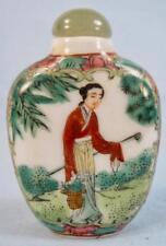 Snuff Bottle Porcelain Woman In Kimono Harvesting Plants Signed Handpainted (O)