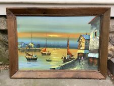 Nautical Framed Oil Painting Boats Sunset Signed K.Wood