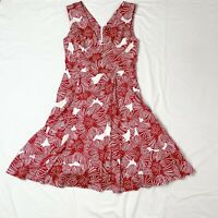 David Lawrence Floral Dress Size 10 Fit And Flare Cotton Red White V Neck