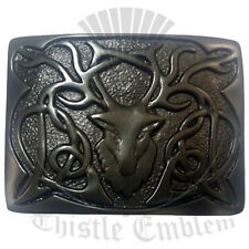 Men's Scottish Kilt Belt Buckle Stag Head Black Finish/Stag Head Belt Bcukles