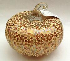 "New 6.5"" wide Multi Color Mosaic Mirrored Lighted Glass Pumpkin Copper Orange"