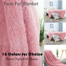 Solid Decorative Long Shaggy Faux Fur Blanket Fuzzy Microfiber Lightweight Soft