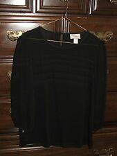 Womens Ann Taylor LOFT 3/4 sleeve Black Sheer Top Blouse XS