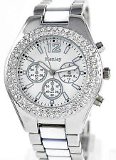 Ladies Really Sparkly Watch Genuine Crystals White/silver Tone Henley Branded