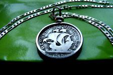 """Pre 1950  Portuguese Silver Ship Coin Pendant on a 30"""" 925 Sterling Silver Chain"""