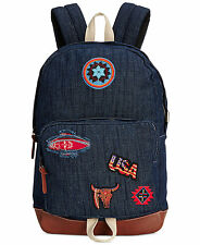 $145 Steve Madden MENS BLUE PATCH BRIEFCASE BACKPACK WORK BAG SCHOOL GYM BOOKBAG