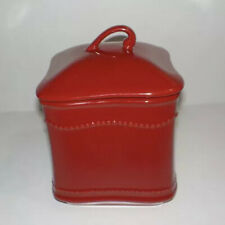 """Princess House Pavillion Petite Red Berry Canister #3211 Red 8 1/2"""" Tall NIB!"""