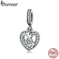 Bamoer .925 Sterling Silver charm & CZ Mother's Love Dangle Fit Bracelet Jewelry