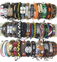 10pcs Fashion Jewelry standard Hemp Cuff Genuine Leather Bracelets random color