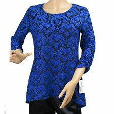 Women's Blue Floral Lace Long Sleeve Blouse Top NY Collection Size PS New