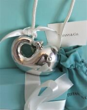 Smiling Whale New In Box + Pouch Tiffany & Co Silver Baby Rattle Large Happy