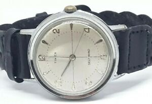 Vintage Timex 1960 Automatic Viscount Vietnam Era Mechanical Mens Watch Leather