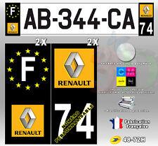"""Stickers Plaque D'immatriculation Fond Noir Logo """"Renault"""" 4 pièces 45x100 mm"""