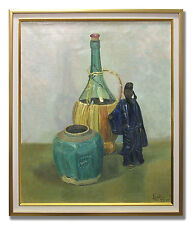 STILL LIFE WITH BOTTLE, URN AND ORIENTAL FIGURE - Original Art Oil Painting