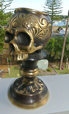 "SKULL head CANDLE STICK BRASS old vintage style collect 5.1/2"" aged heavy B"