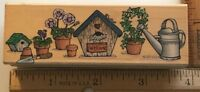 Birdhouse garden flower pot watering can border ~ Hero Arts rubber stamp #2525