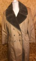 Vintage 70s BONDERS Women's Coat Fur Lined Trench Size Medium Kaki