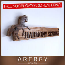 PERSONALISED OAK ADDRESS SIGN CUSTOM ENGRAVED OUTDOOR WOODEN BARN HOUSE PLAQUE