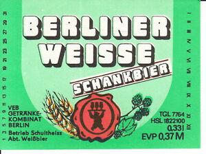 1 Bieretikett Berlin Schultheiss , Abt. Weissbier   DDR