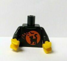 Lego 1 Body Torso For Minifigure  Orange Moon Black Cat Bat Halloween