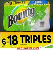 Bounty Paper Towels Select-A-Size White, 6 Triple Rolls = 18 Regular Rolls