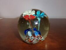 VINTAGE LARGE GLASS HEAVY PAPERWEIGHT GORGEOUS FLOWERS BUBBLE MULTI COLOR