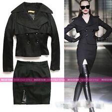 077 Korean Women's Fashion Wool Blend Outwear Coat Jacket Top Black