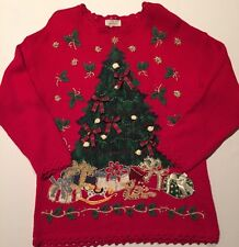 Lord & Taylor Ugly Christmas Sweater Large Tree Bows Bells