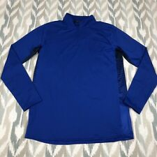 Under Armour ColdGear Reactor Men's 1/4 Zip Fitted Mock Shirt Top Blue Size L