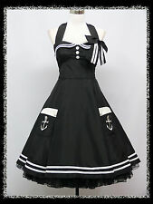 dress190 BLACK HALTER 50's PINUP ROCKABILLY VINTAGE SWING PROM PARTY DRESS 20-22