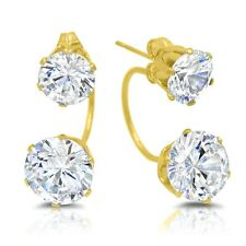 Stainless Steel Gold Double Cubic Zirconia Hoop Stud Earrings Ear Jackets Front