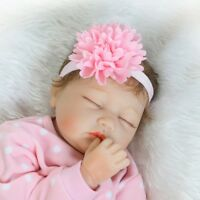 "55cm Full Body Silicone Vinyl Reborn Baby Girl Dolls 22"" Lovely Sleeping Doll"