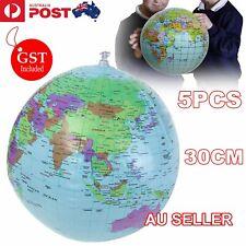 5X 30cm Inflatable World Globe Earth Teaching Geography Map Beach Ball Kids Toy