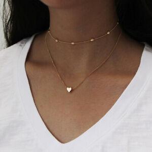 Damen Halskette Herz Chocker Doppel Kette Damen Collier Silber Gold Modisch