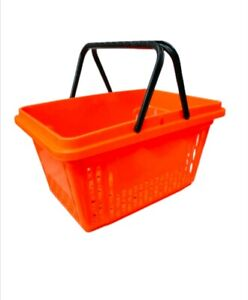 X2 CUSTOMERS PLASTIC SHOPPING BASKET FOR SHOP STORE  WITH 2 HANDLES 20 LITER