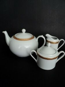 Sears Golden Simply Christmas Teapot sugar and creamer 3 pc set Vintage Classic