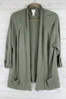 Chico's Olive Green Open Front Sweater Knit Cardigan Size 3 XL 16
