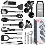 Juego de utensilios de cocina 24 piezas de acero inoxidable y  antiadherentes