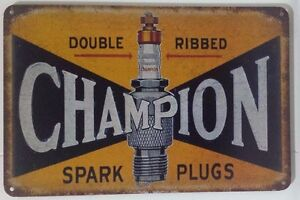 CHAMPION . Garage Rustic Look Vintage Tin Signs Man Cave, Shed & Bar SIGN