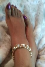 Large Link Chain Statement Piece Pearl and Gold Chain Anklet Bracelet,